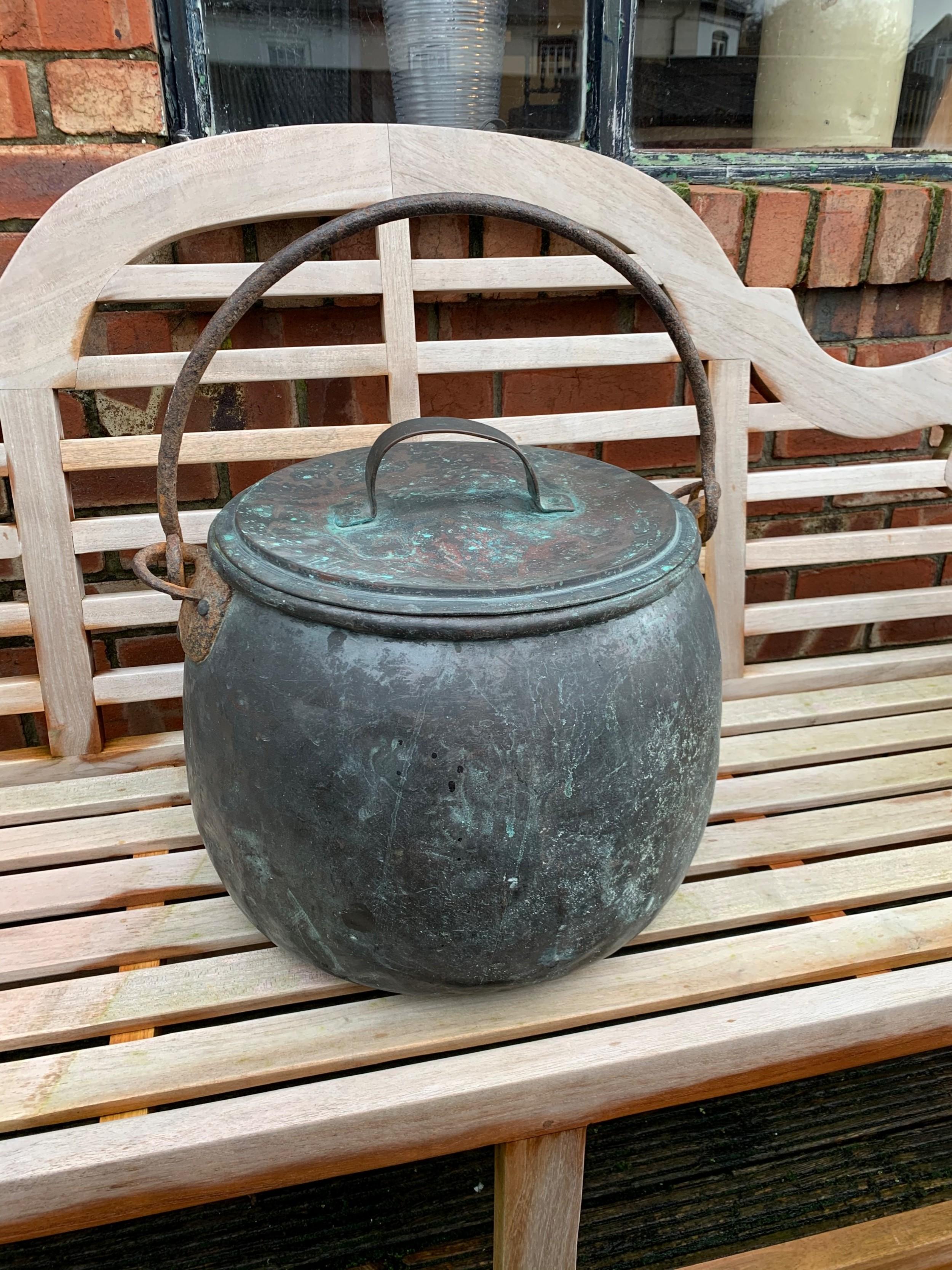 victorian lidded copper pot