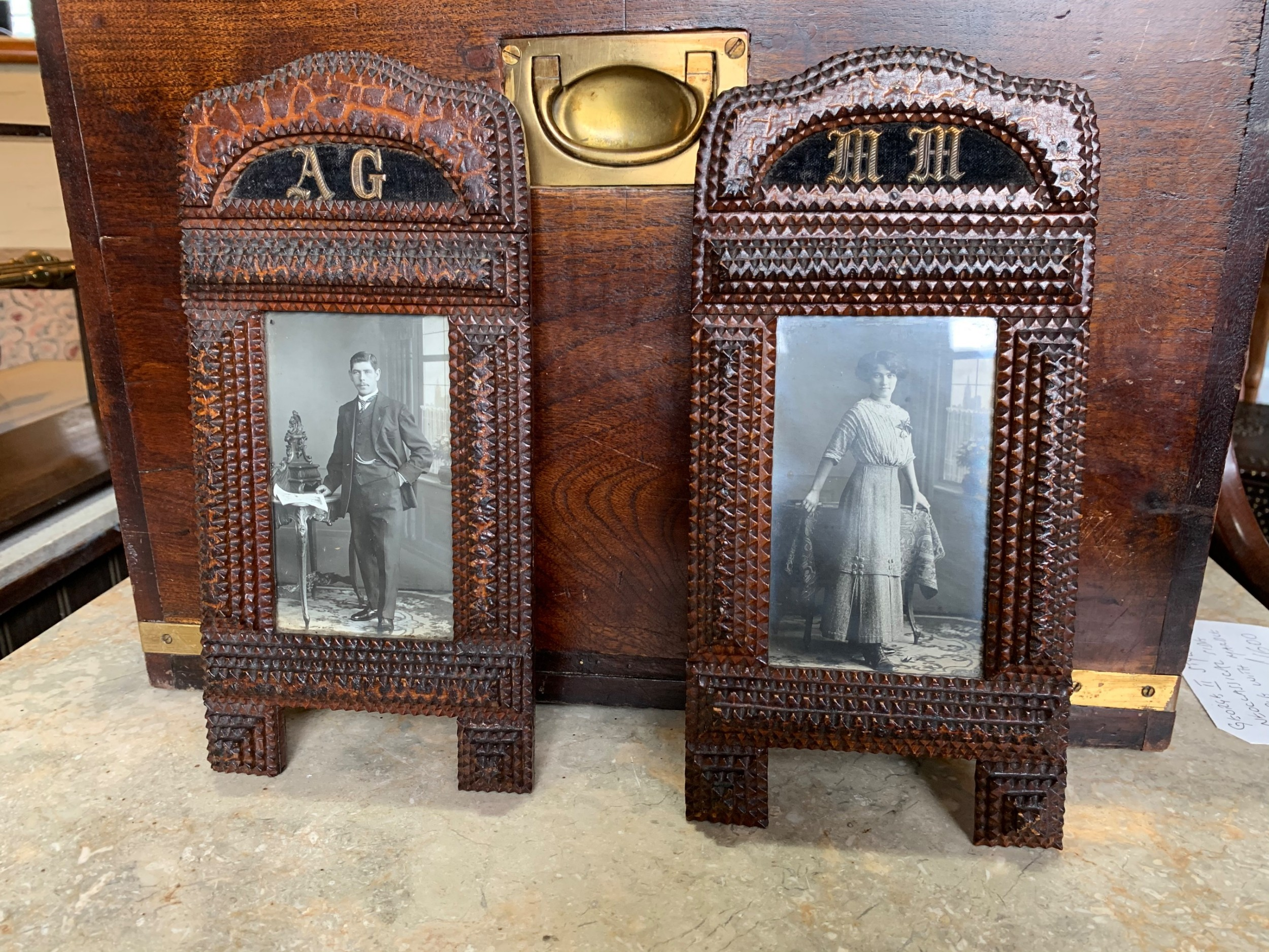 pair of tramp art picture frames