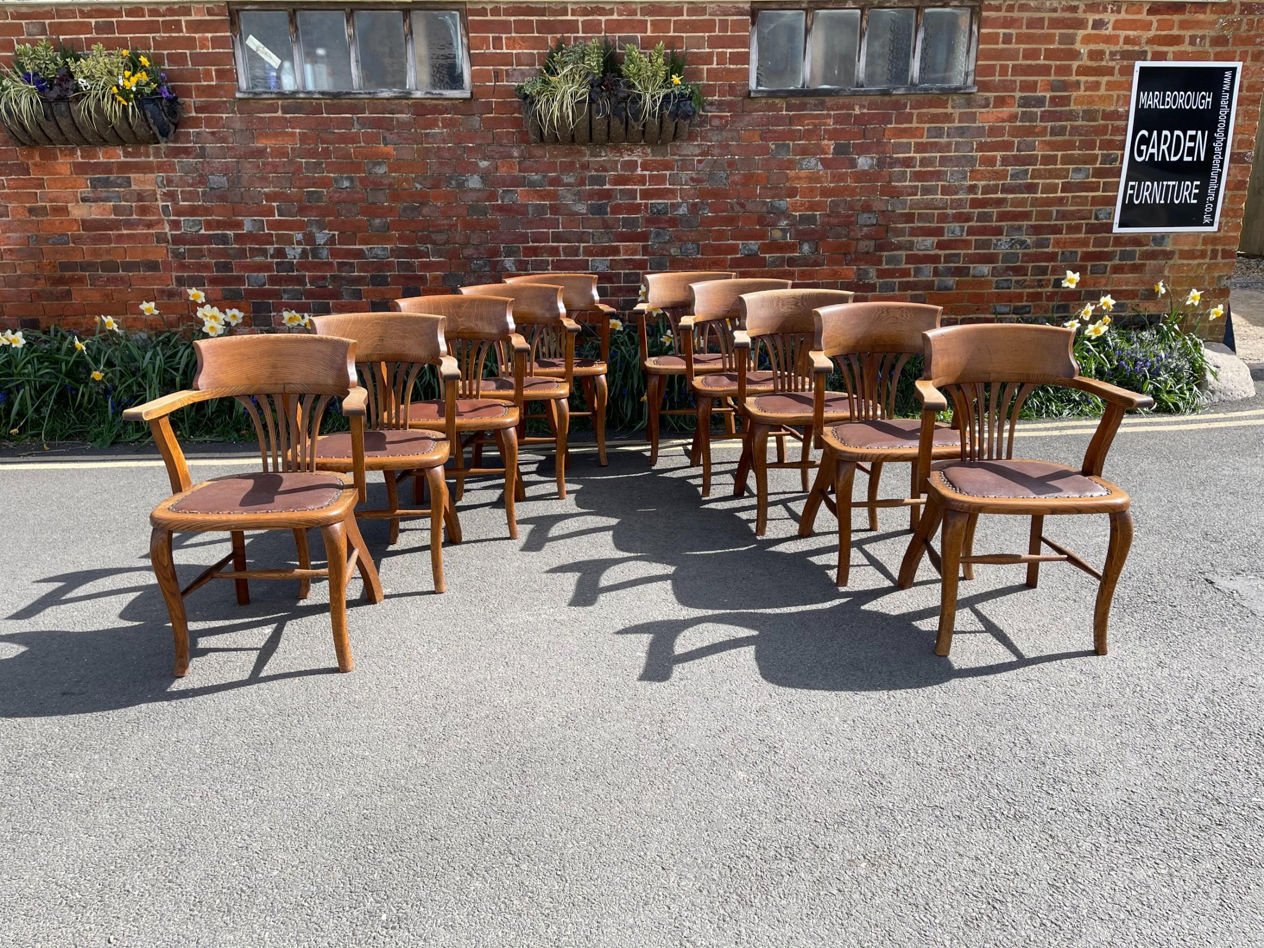 set of ten oak armchairs