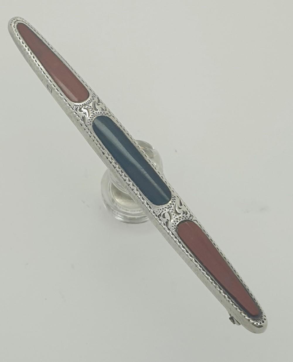 birmingham 1911 silver agate pin brooch