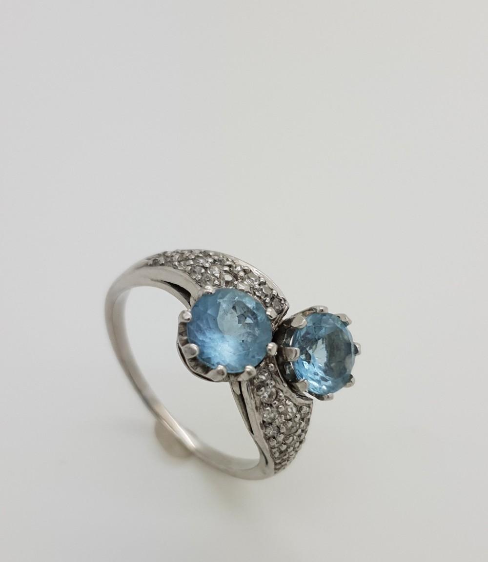 aquamarine and diamond twist ring