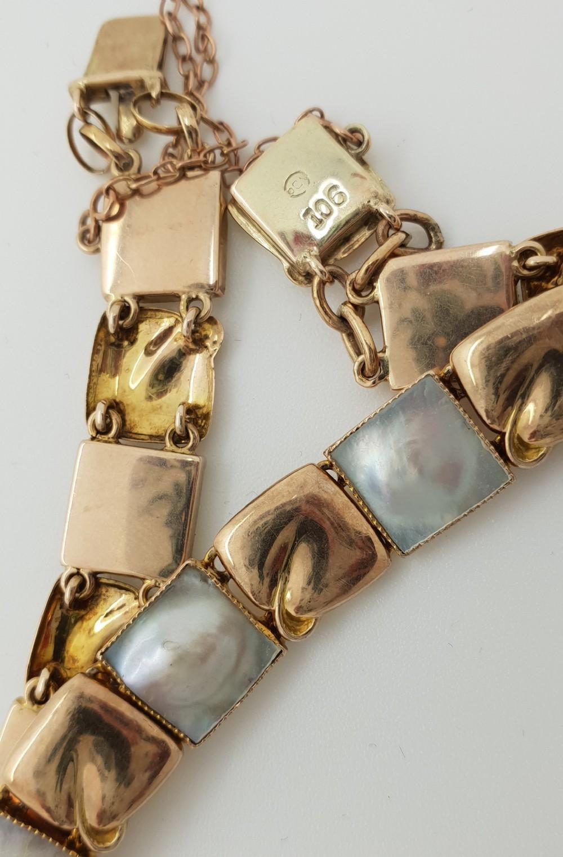 murrle bennet 9ct gold and pearl blister bracelet