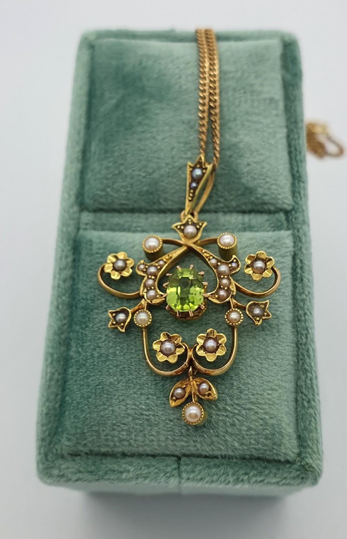 15ct yg edwardian peridot pearl pendant