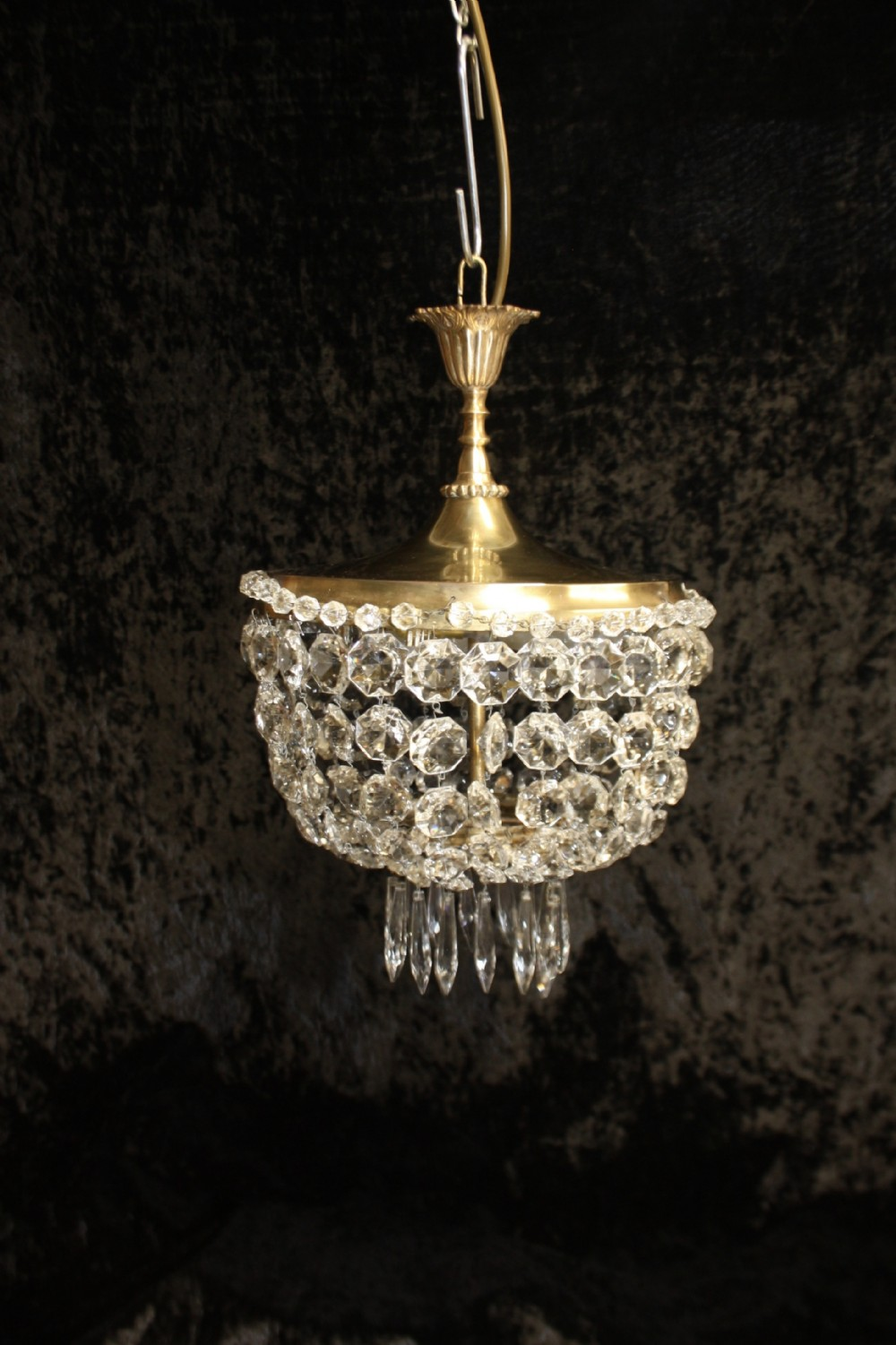 early 20th century chandelier with large brass top