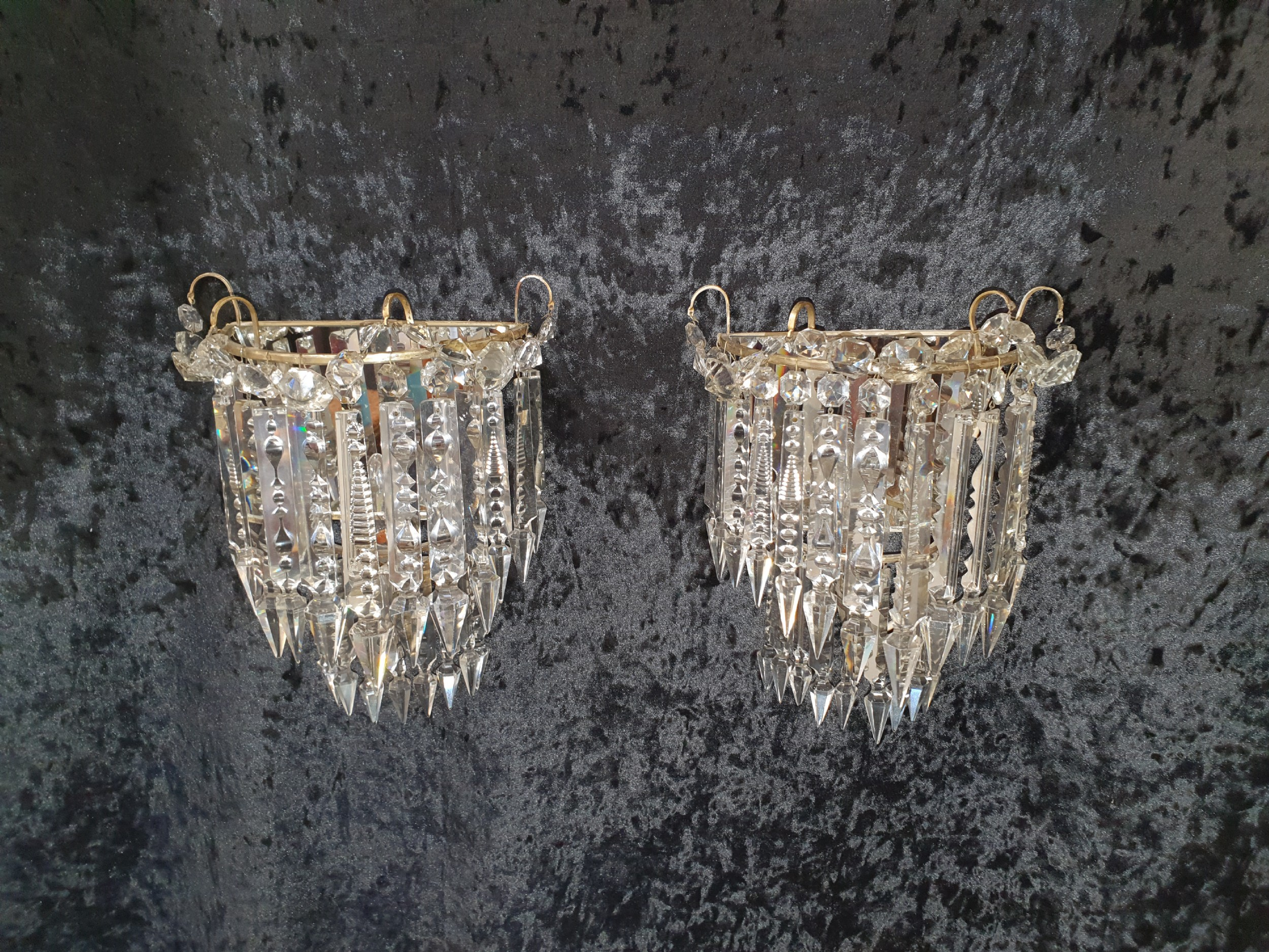 early 20th century pair of lustre wall lights with silvered finish