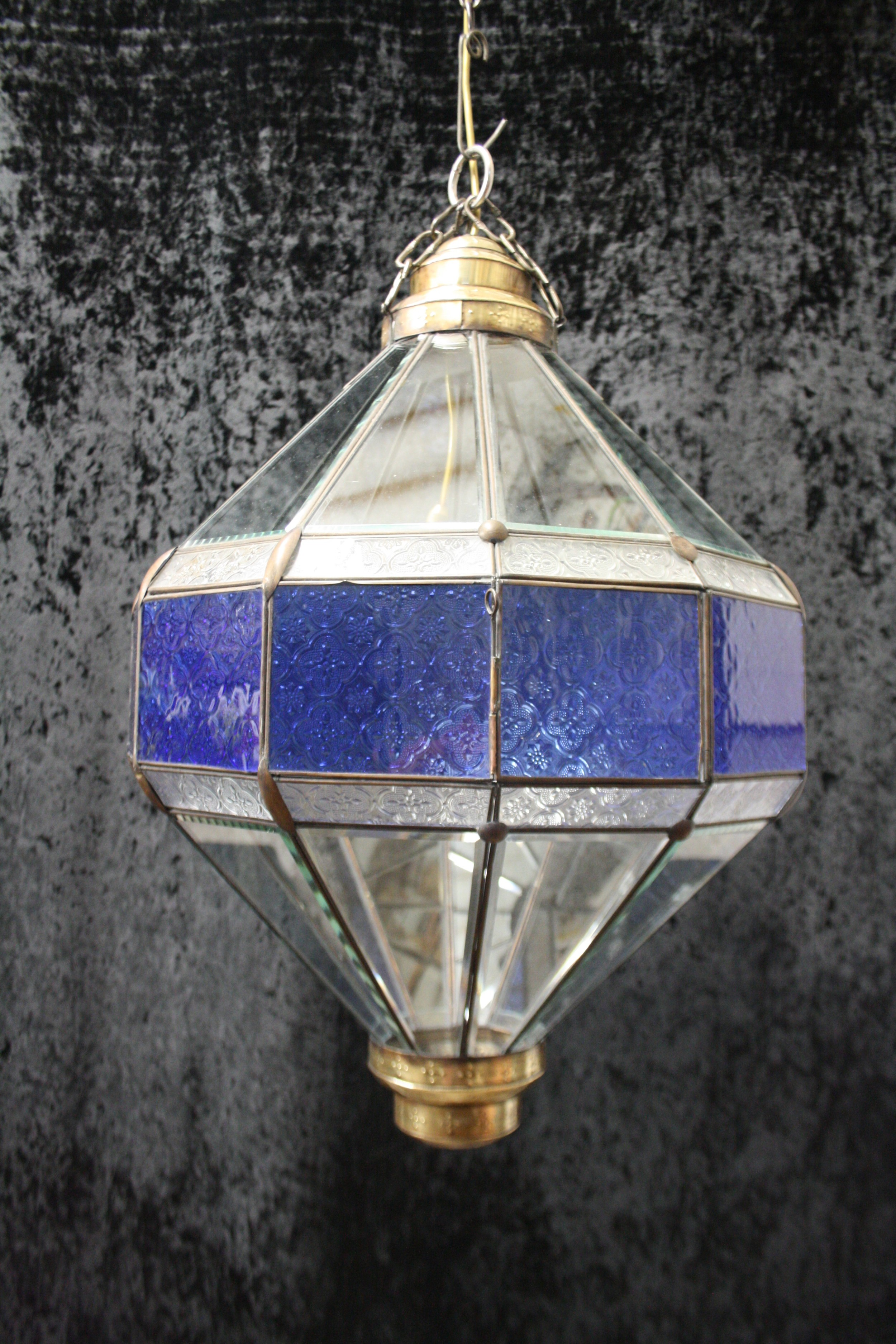 early 20th century large blue hall lantern with bevelled glass