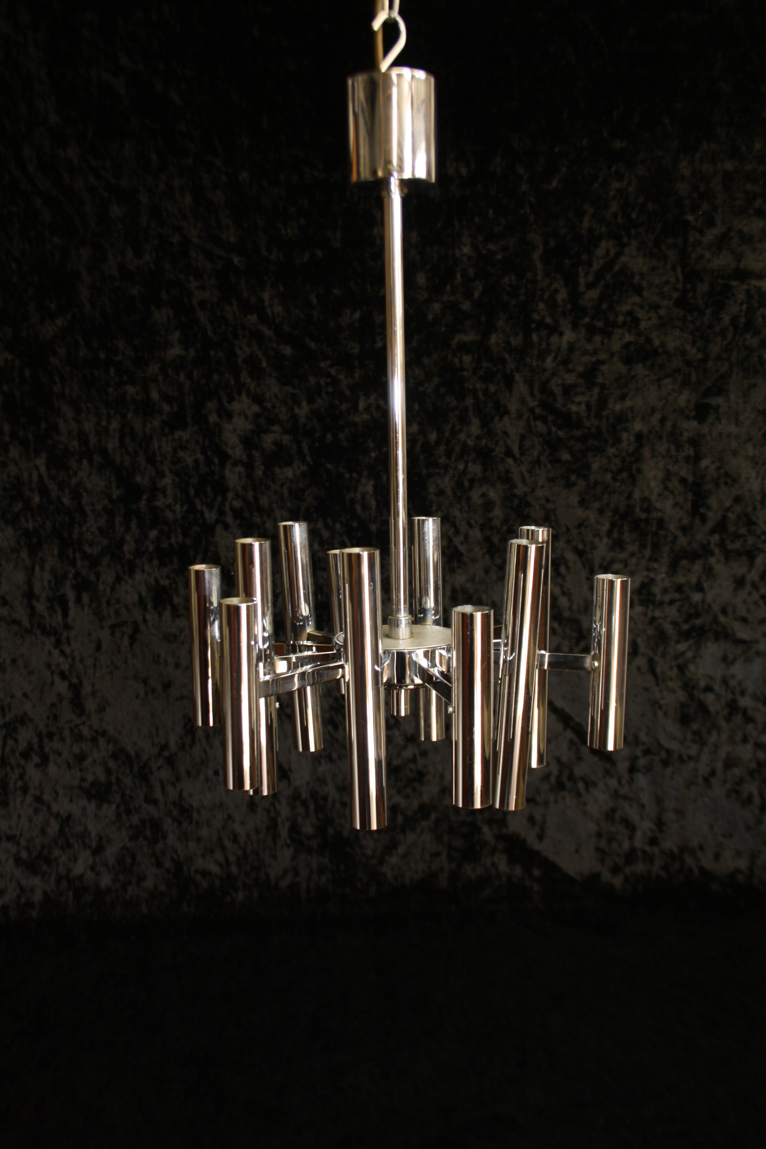 small art deco chrome chandelier