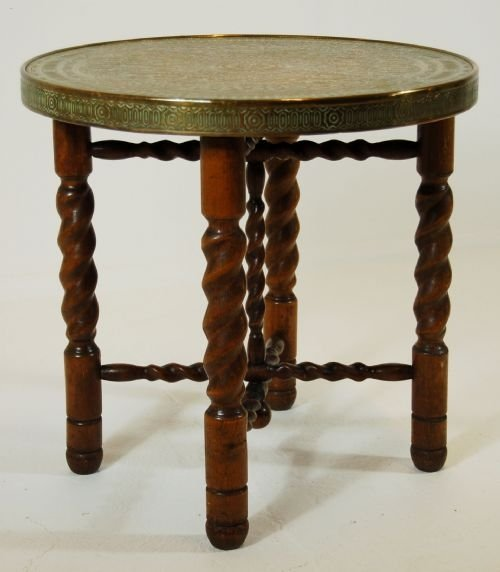 Antique Table Side Tea Coffee Folding Occasional Berber