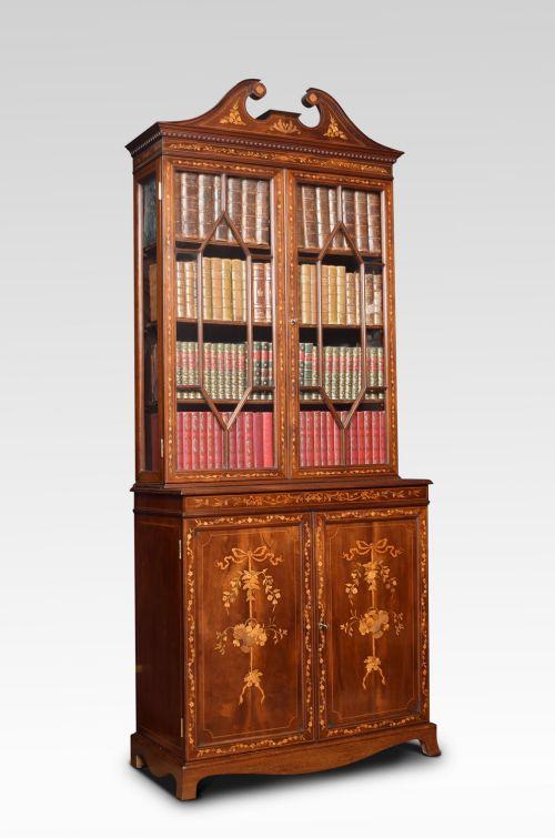 mahogany two door inlaid bookcase