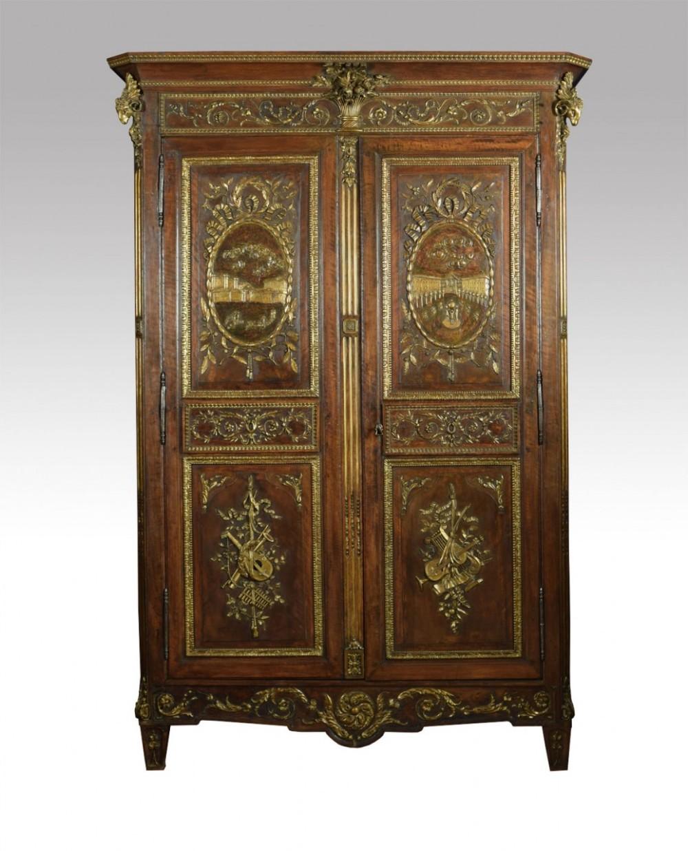 louis xv french walnut armoire