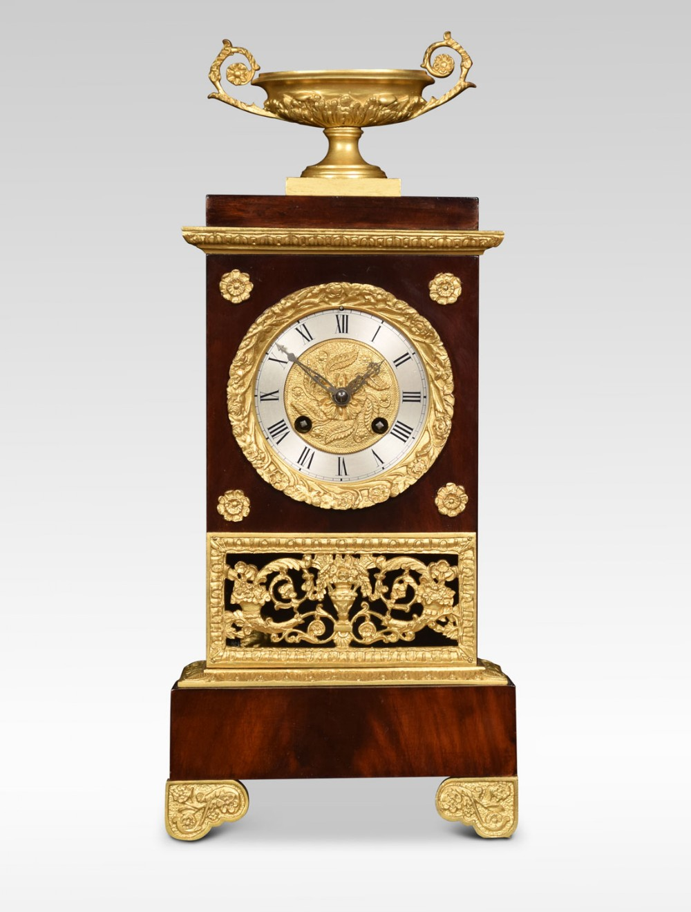 french empire style gilt metal mounted mahogany mantel clock