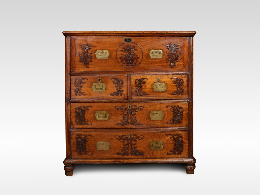 chinese camphor wood secretaire campaign chest