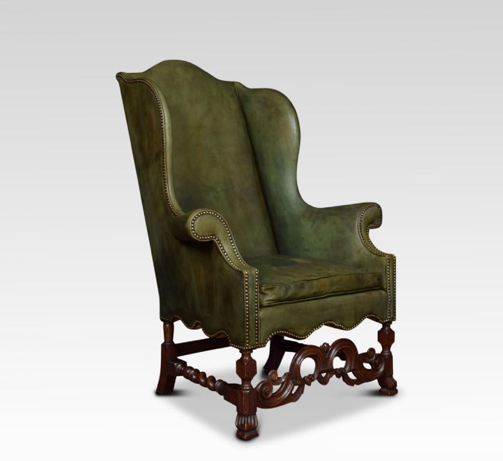 carolean style walnut framed high back armchair