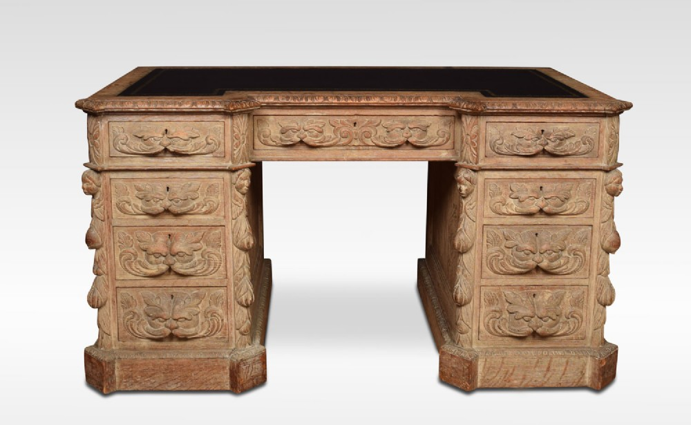 limed oak carved pedestal desk