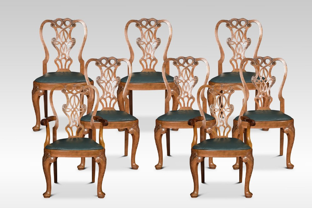 set of eight walnut dining chairs