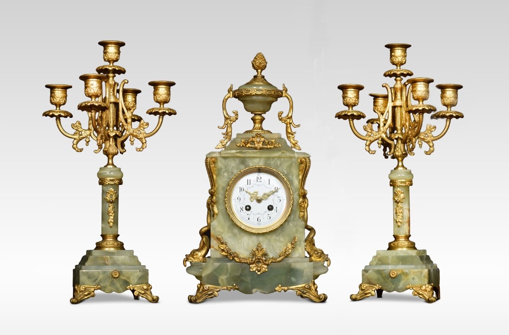 19th century french onyx and gilt metal clock set