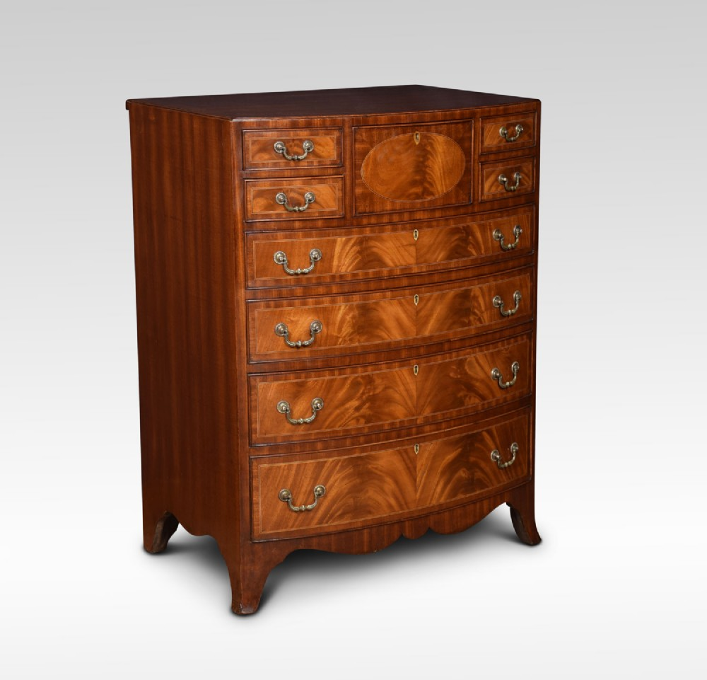 regency style mahogany bow fronted chest of drawers