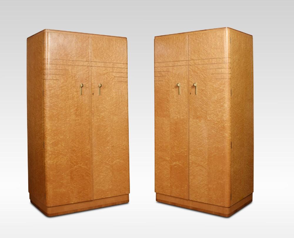 pair of art deco two door wardrobes