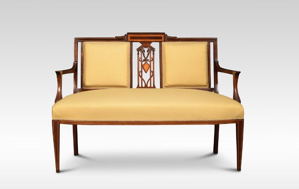 edwardian mahogany and satinwood inlaid settee