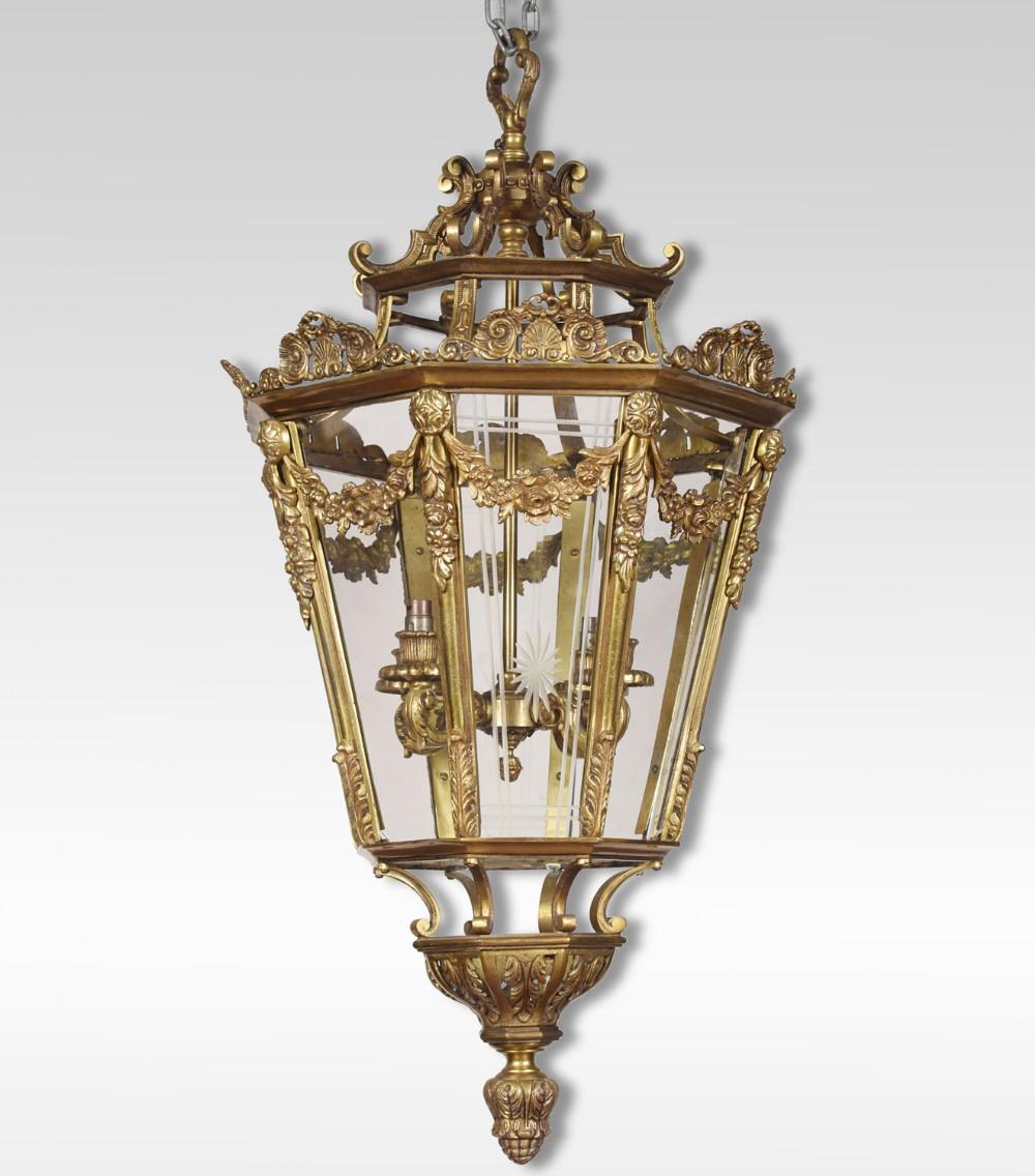 large brass octagonal cut glass four light lantern