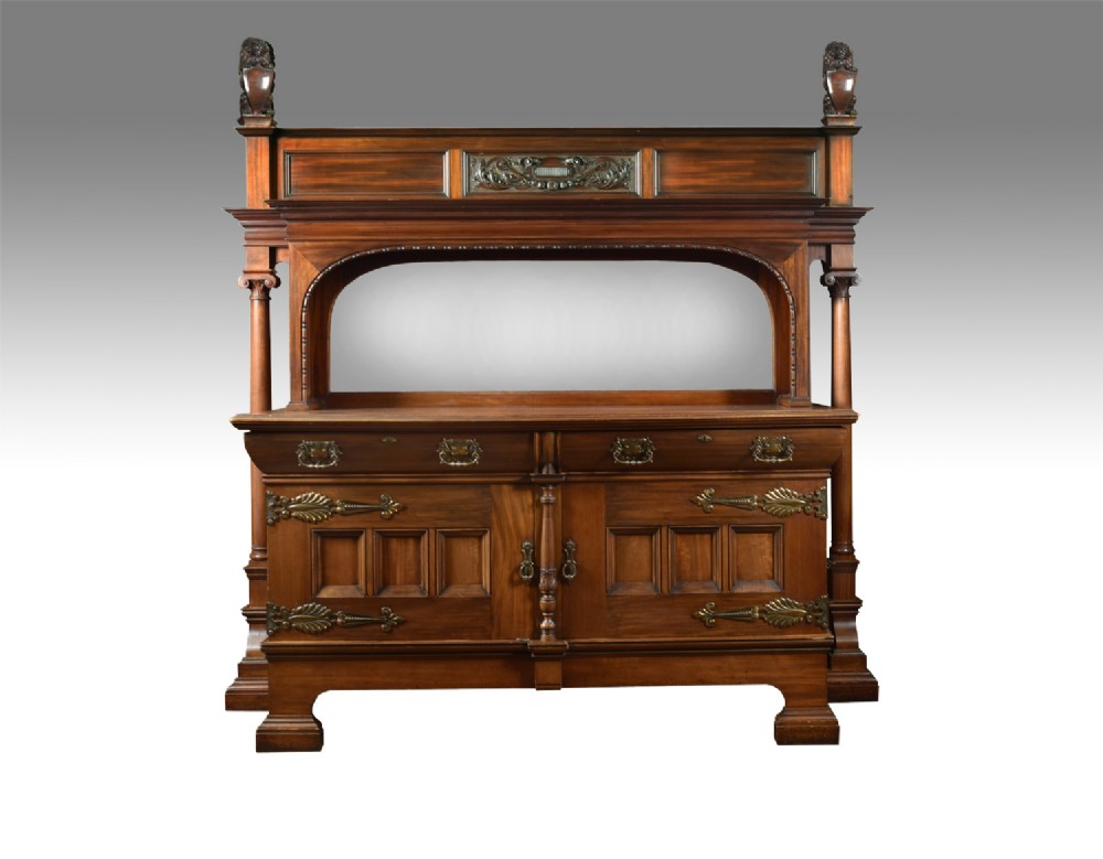 large carved walnut mirrored back sideboard
