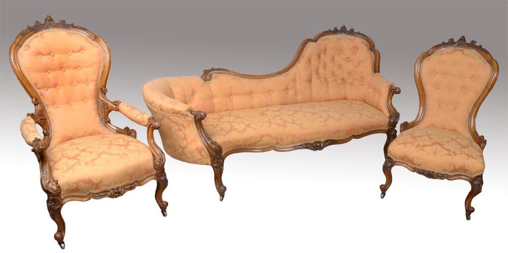walnut framed salon suite