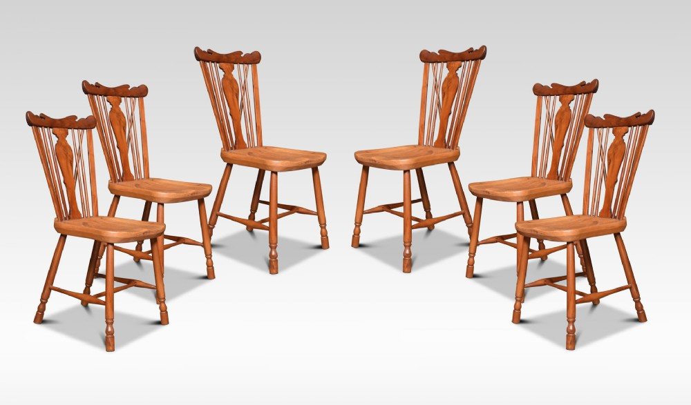 set of six yew and elm framed windsor chairs