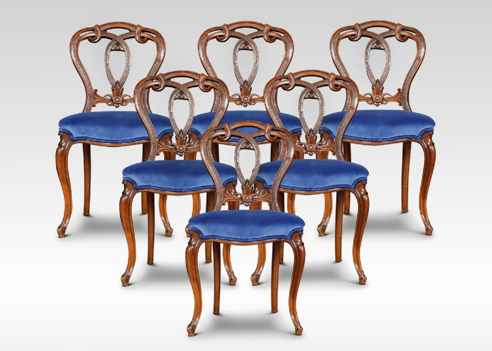 set of six victorian walnut dining room chairs