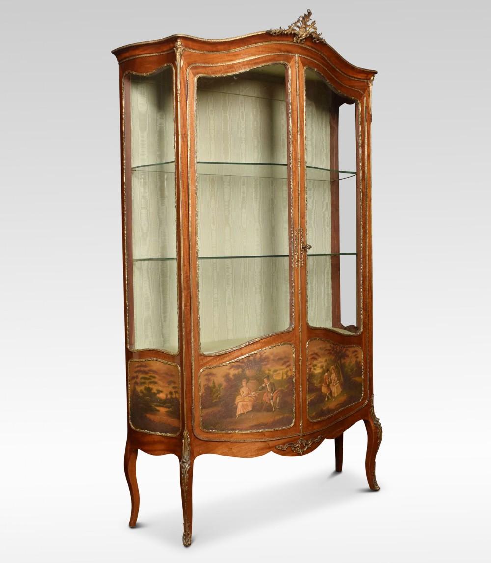 french mahogany vernis martin vitrine