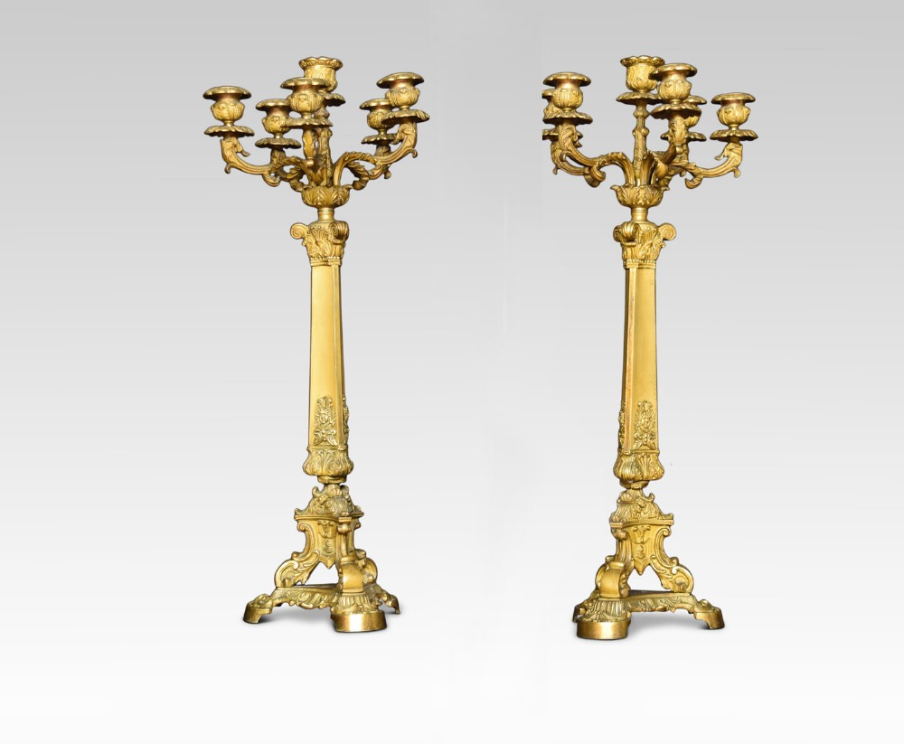 pair of gilt metal five branch candelabras