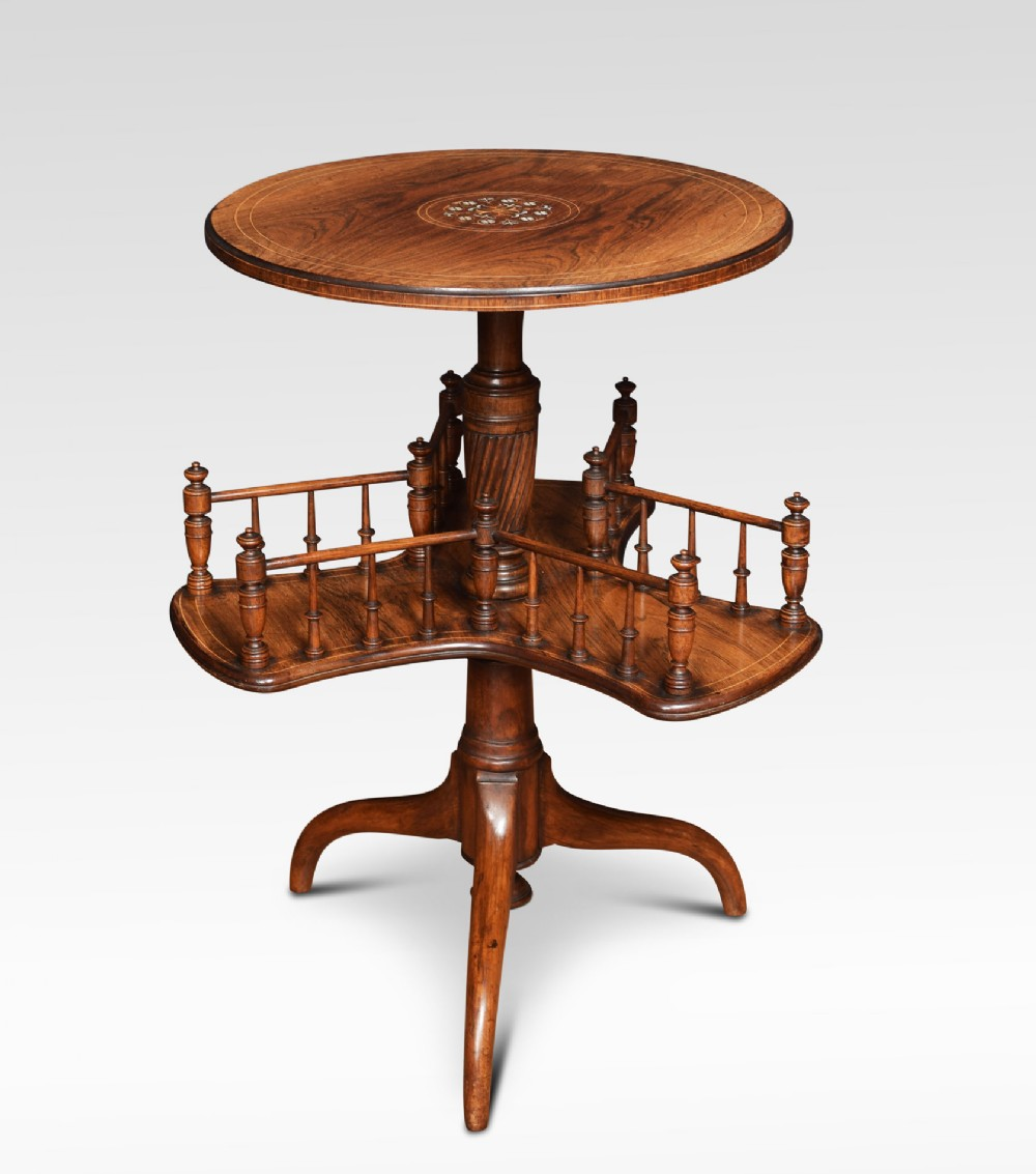 edwardian rosewood inlaid revolving book table