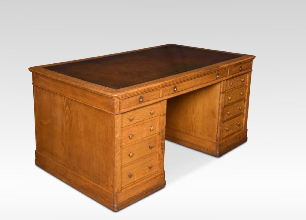 very large oak partners library desk