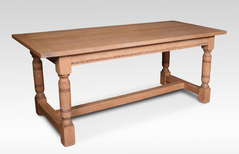 limed oak plank top refectory table
