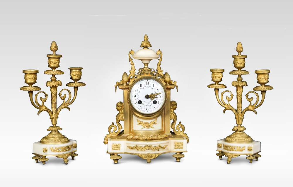 french white marble clock with garnitures by h f paris