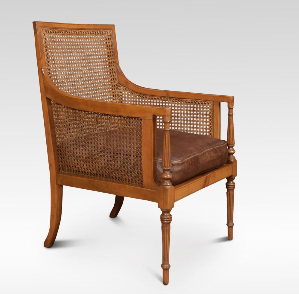 satinwood bergere armchair
