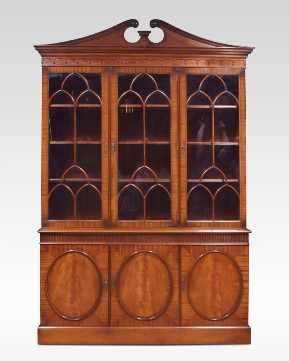 mahogany three door library bookcase