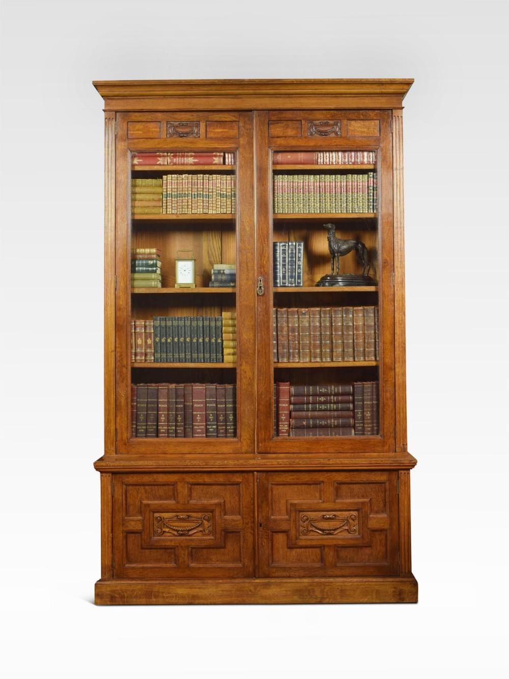 late 19th century oak two door bookcase