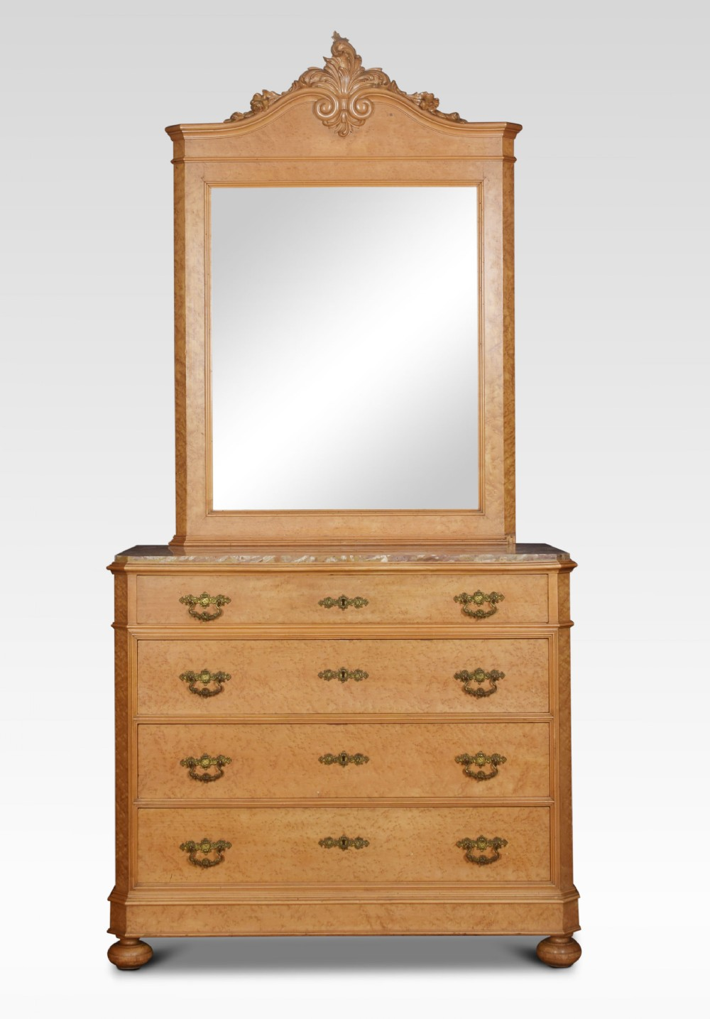 birds eye maple mirrored back chest of drawers