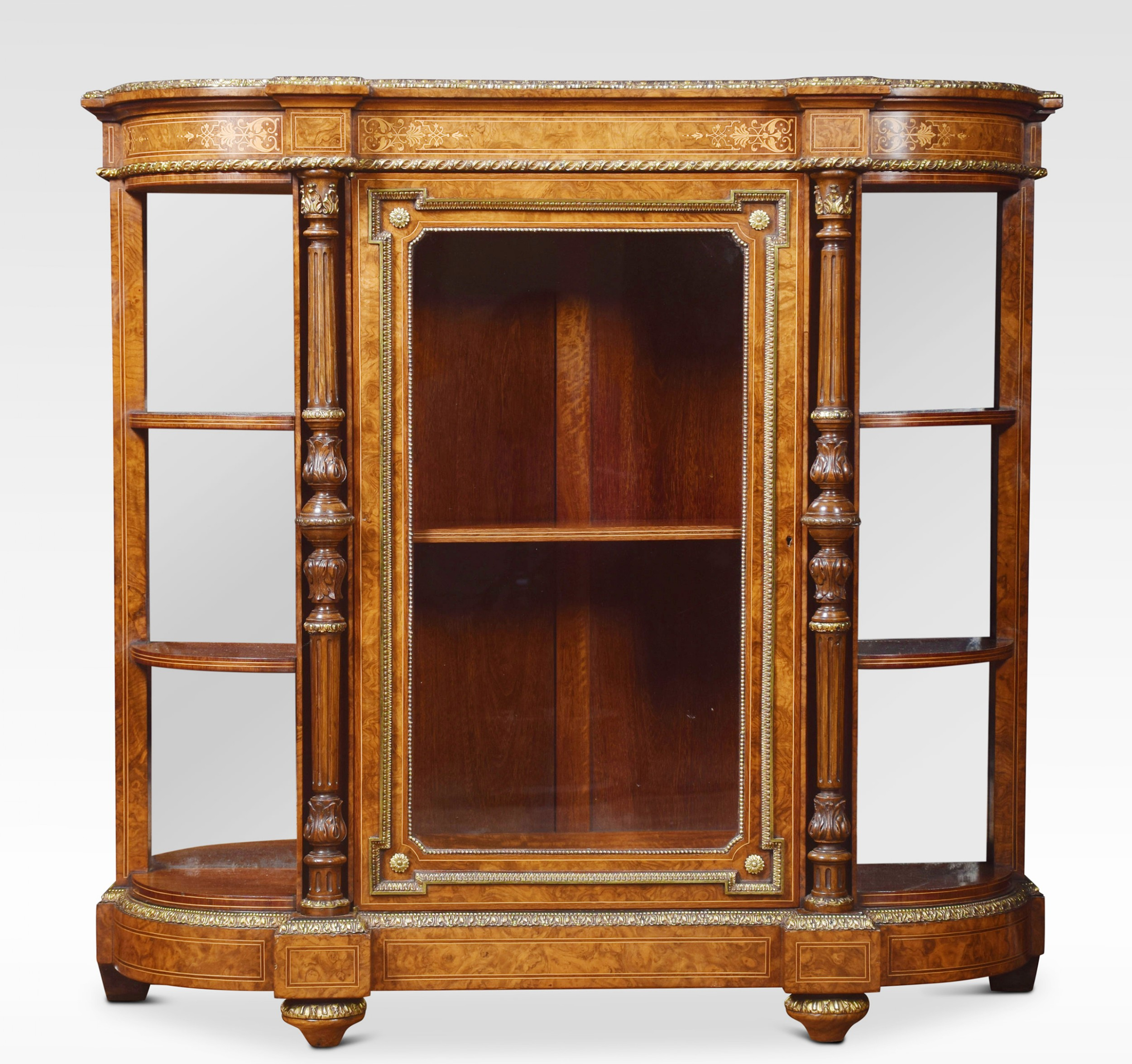 19th century figured walnut credenza of small proportions