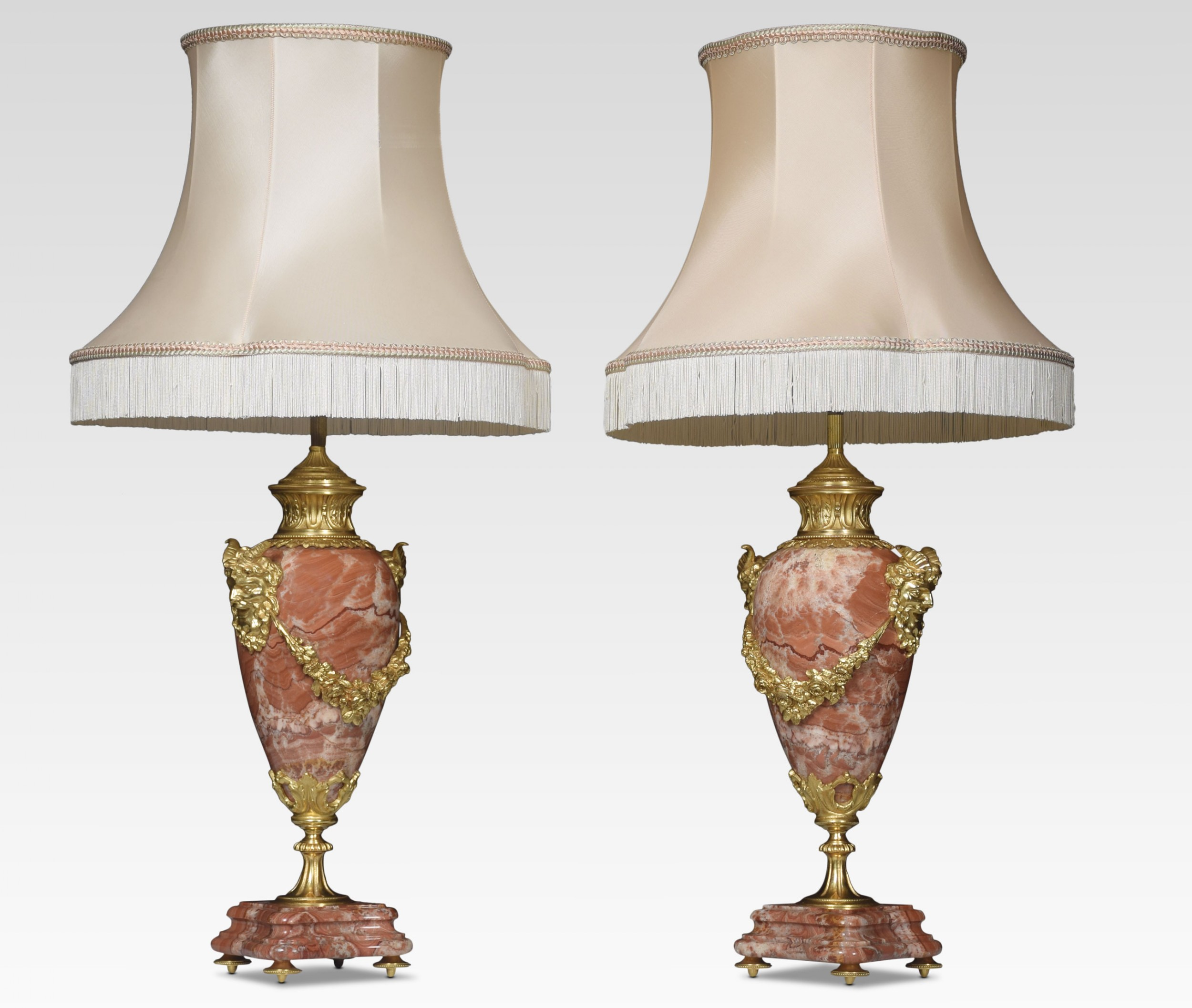 pair of marble vase form table lamps