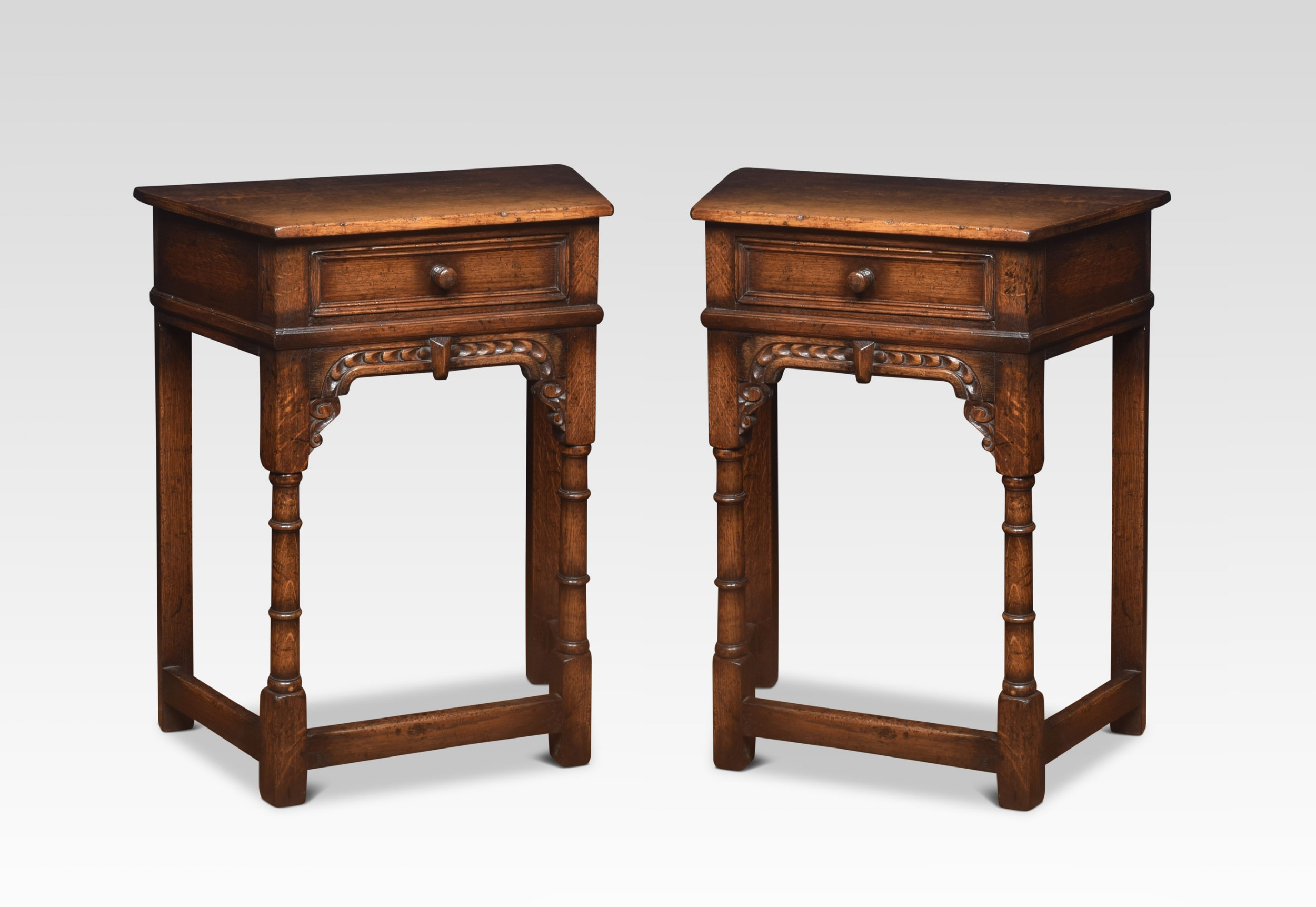 pair of 17th century style oak side tables