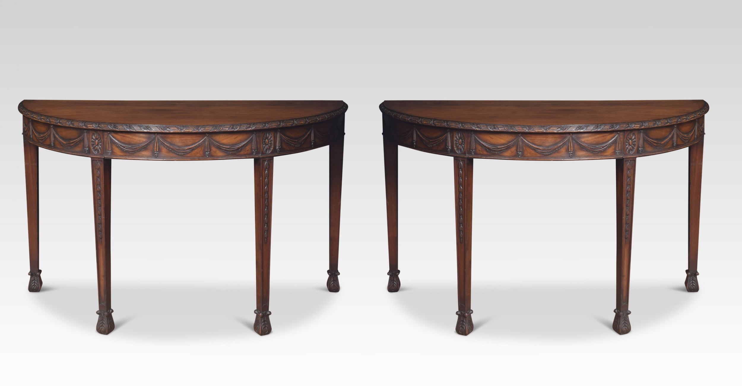 pair of adam revival mahogany hall tables