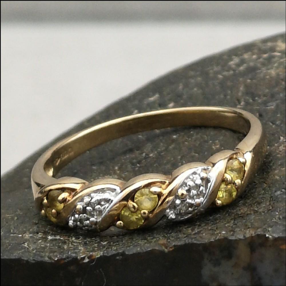 9ct gold diamond citrine ring size q