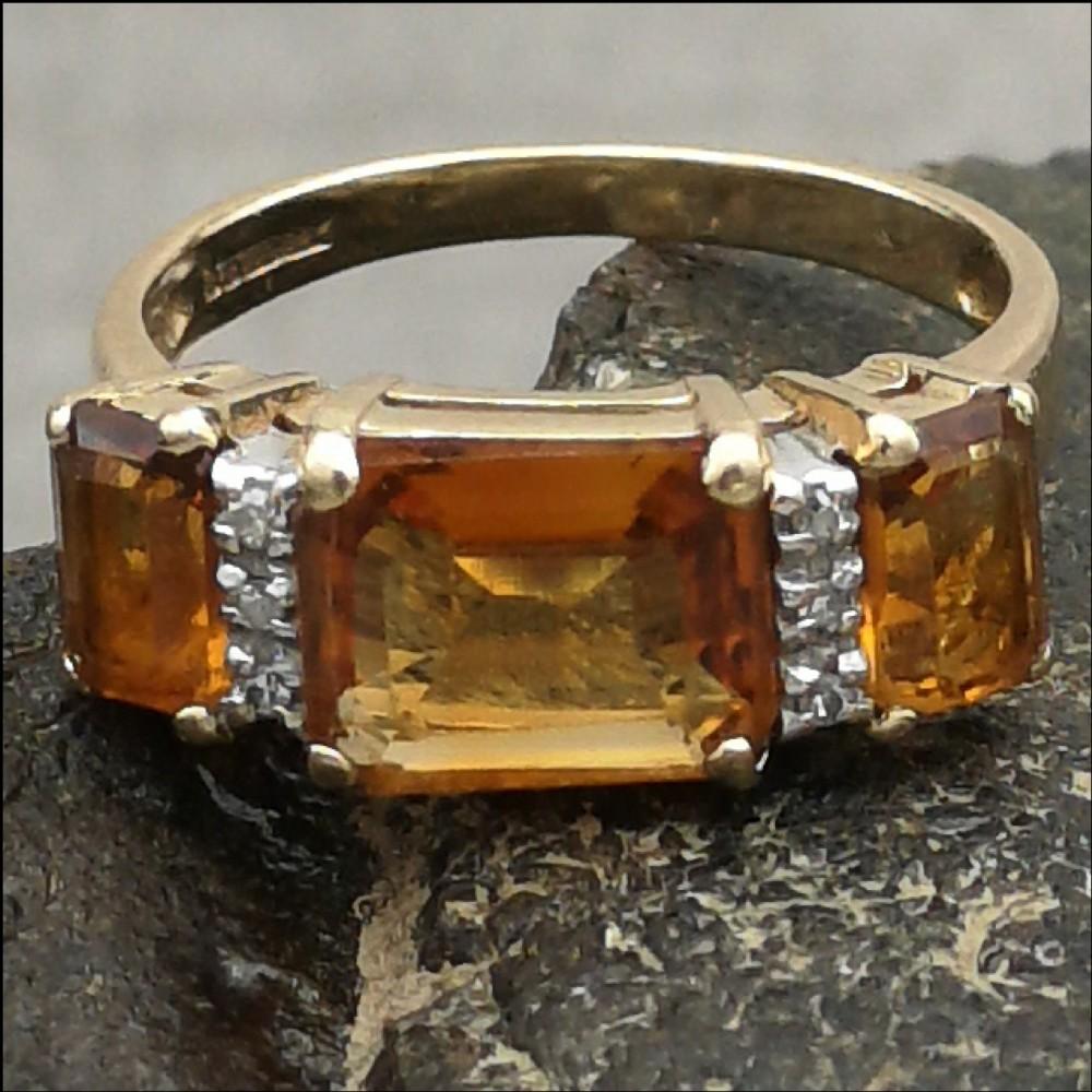 9ct gold diamond three stone citrine ring