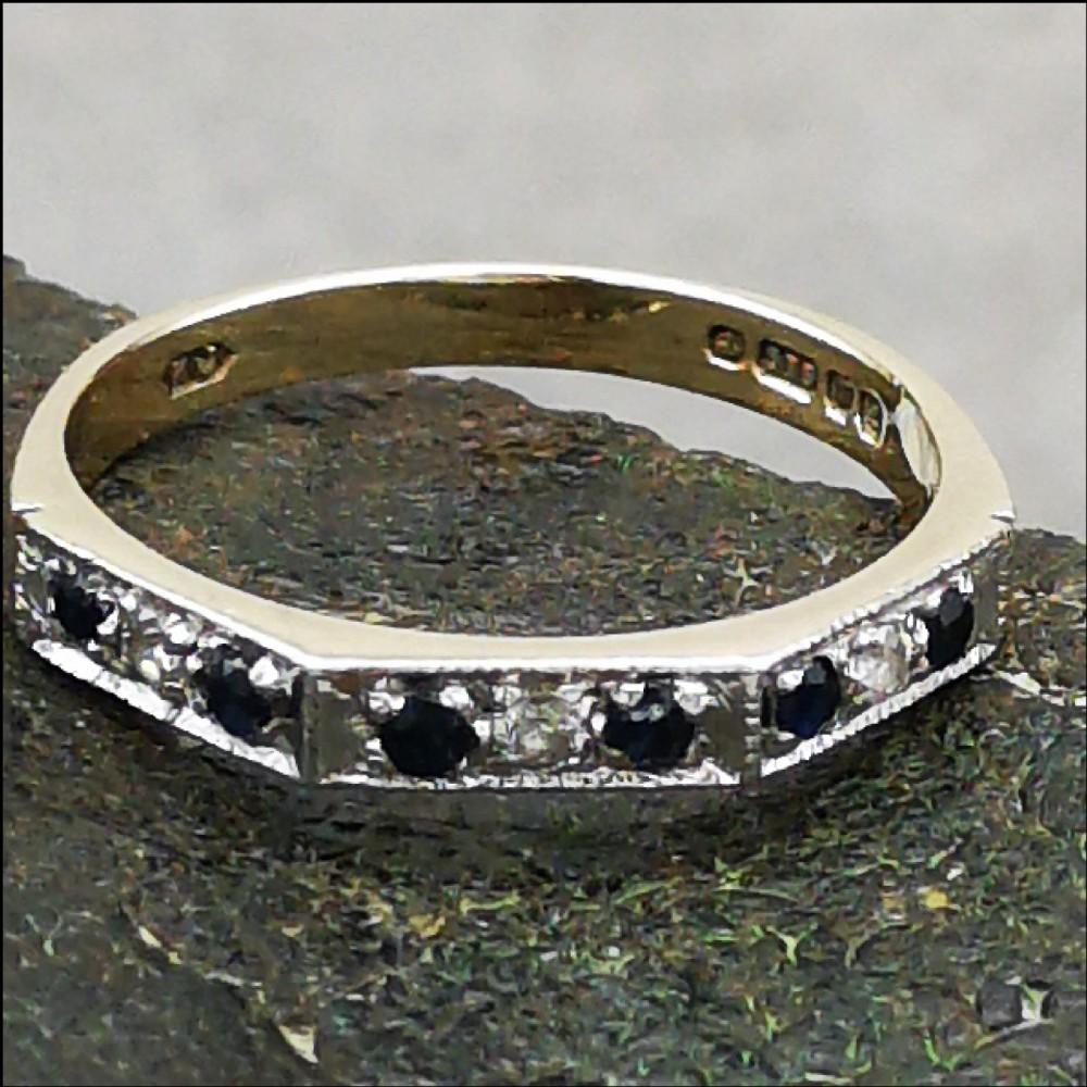 9ct gold sapphire and diamond half eternity ring