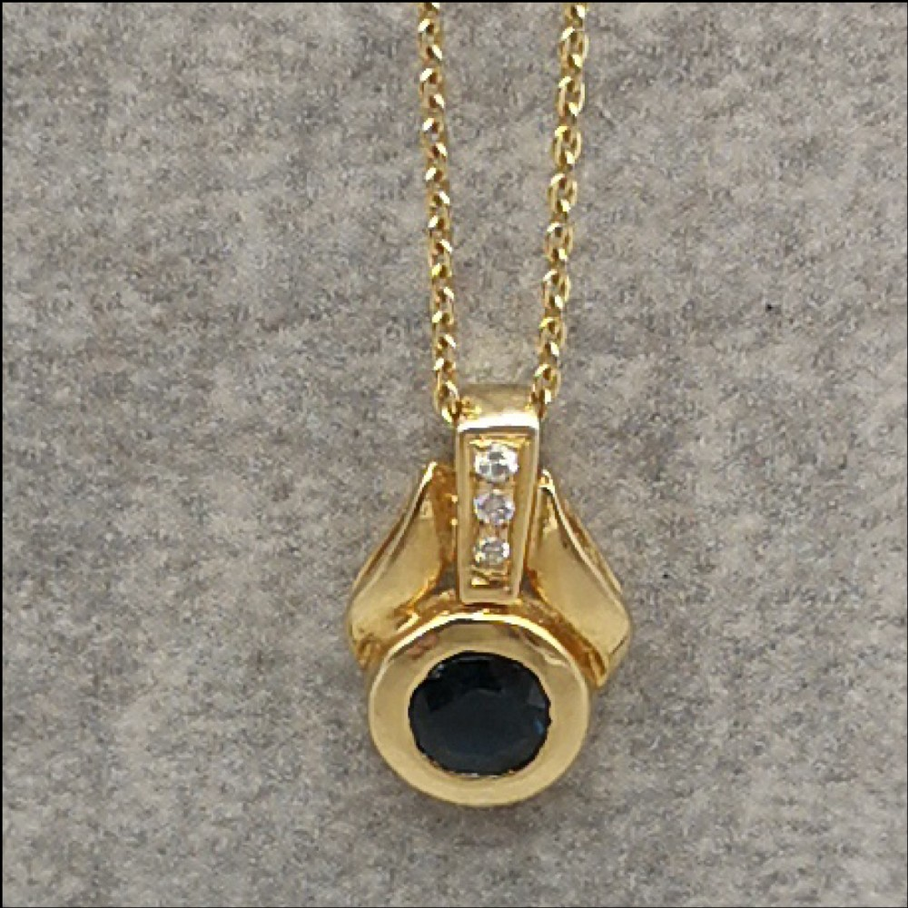 18ct gold sapphire diamond pendant on chain