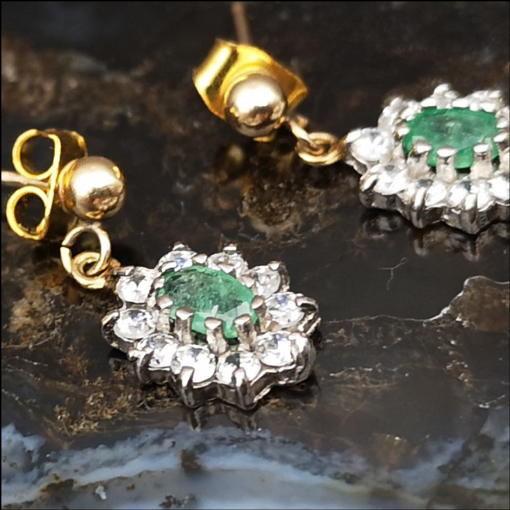 9ct gold natural emerald cluster earrings