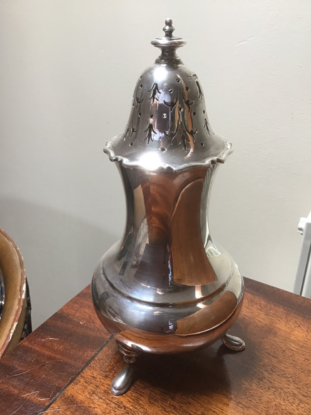 large solid silver sugar caster