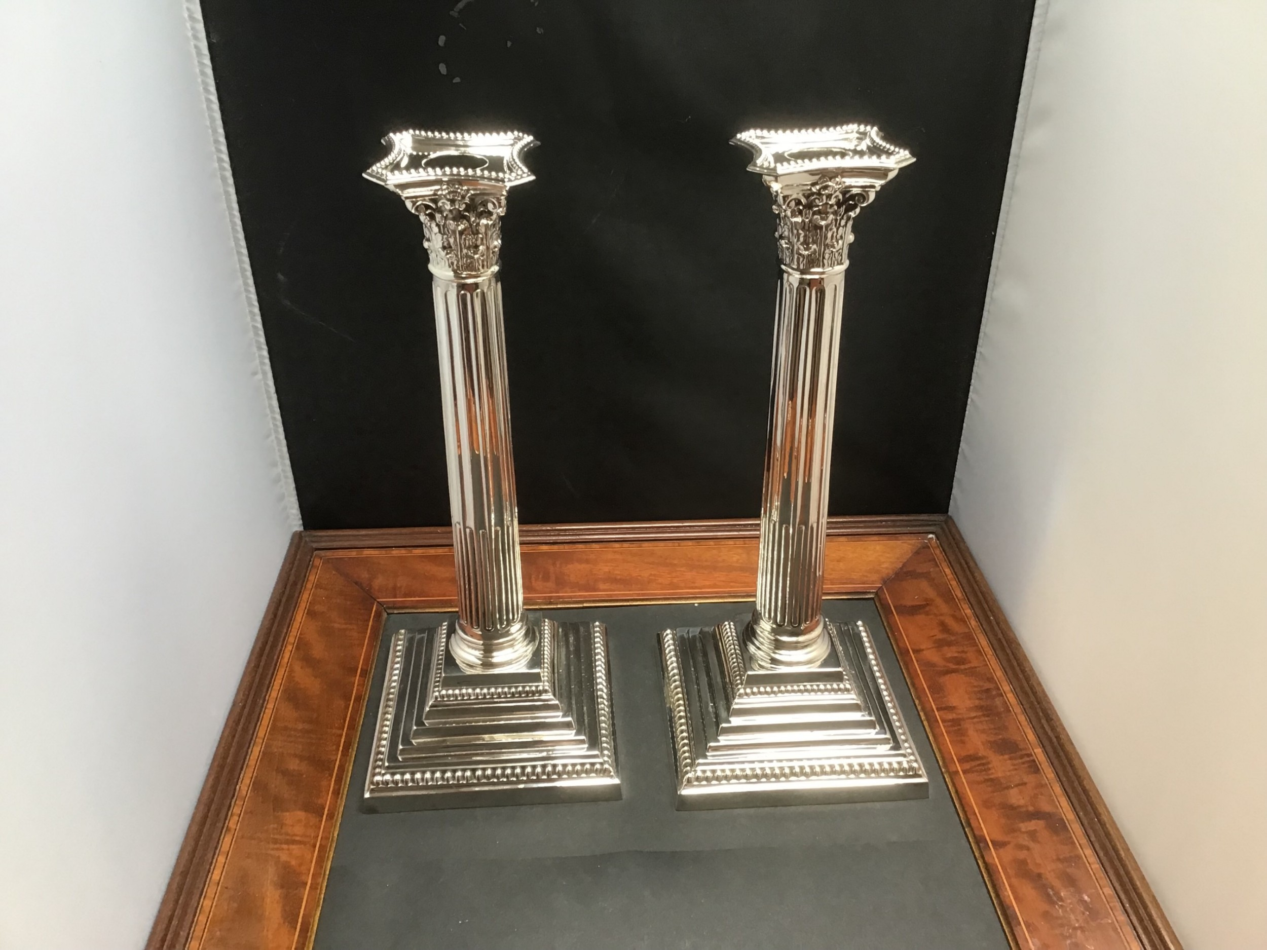 excellent pair silver candlesticks chester