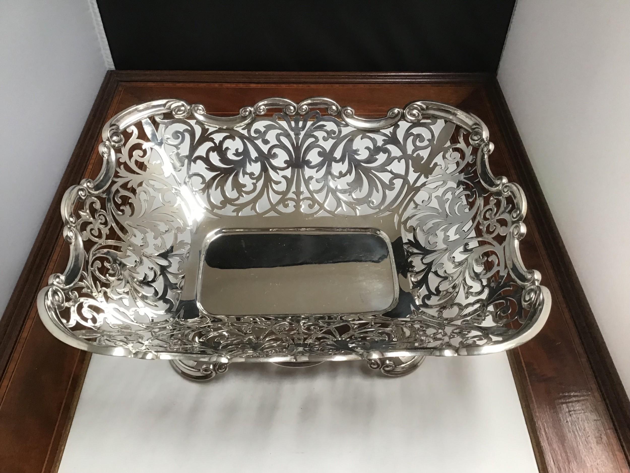 large solid silver pierced basket